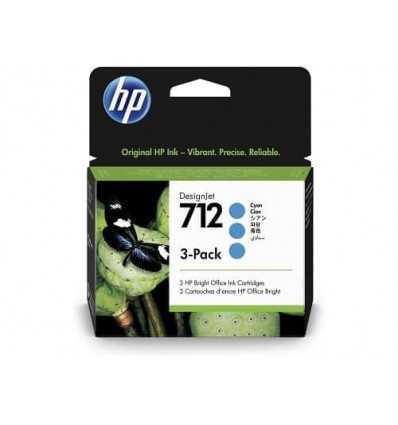 Pack de 3 cartouches d'encre DesignJet HP 712 - Cyan - 29 ml