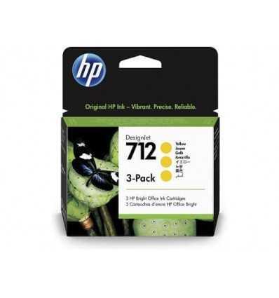 Pack de 3 cartouches d'encre DesignJet HP 712 - Jaune - 29 ml