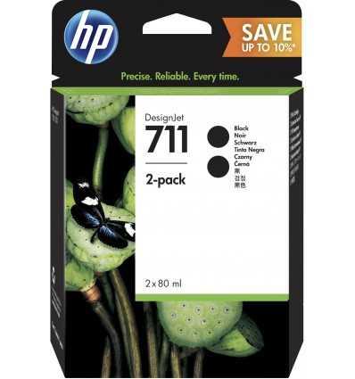 Pack de 2 cartouches d'encre DesignJet HP 711 - Noir - 80 ml