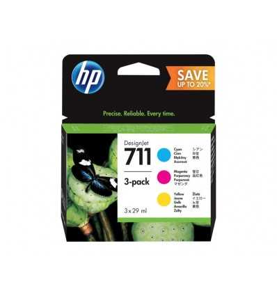 Pack de 3 cartouches d'encre DesignJet HP 711 - Cyan, Magenta, Jaune - 29 ml