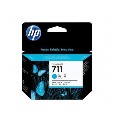 Pack de 3 cartouches d'encre DesignJet HP 711 - Cyan - 29 ml