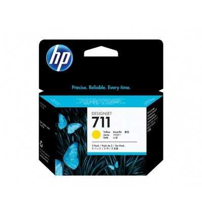 Pack de 3 cartouches d'encre DesignJet HP 711 - Jaune - 29 ml